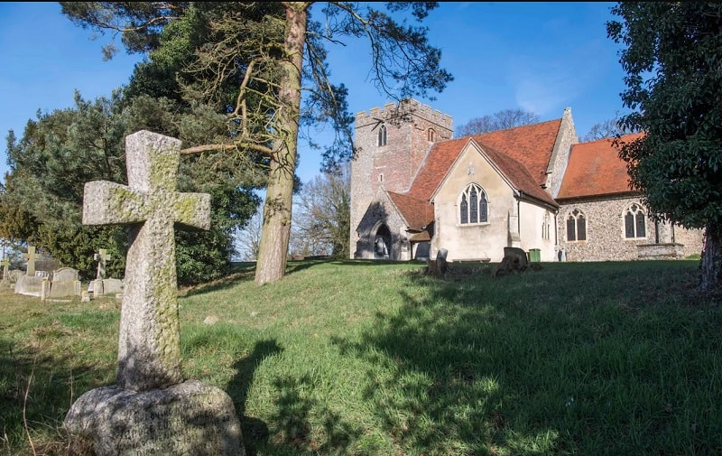 St Giles Church in Great Maplestead, Essex, which has been fitted with 4G transmitters